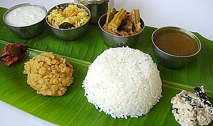 Traditional vegetarian andhra meal served in a plaintain leaf