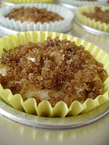 Banana muffins batter topped with crumble
