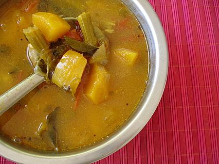 Mukkala Bellam Pulusu - Sweet-Tangy Mixed Vegetable Stew