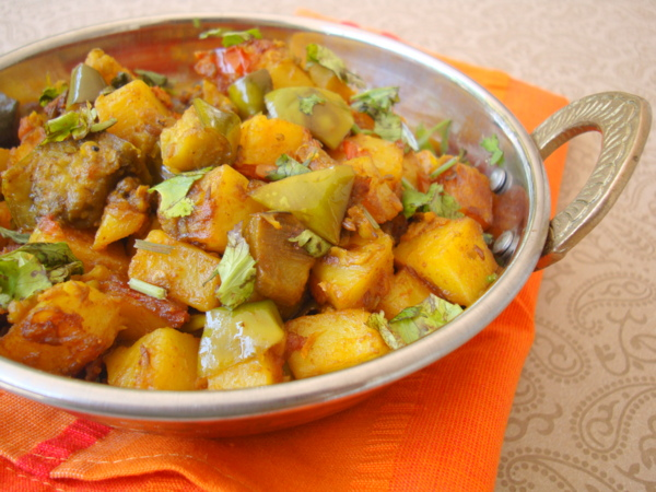indian food dish using brinjals and potatoes