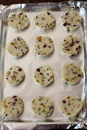 fruit and nut shortbread dough before baking