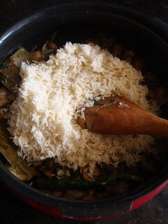 mushroom pulao basmati rice