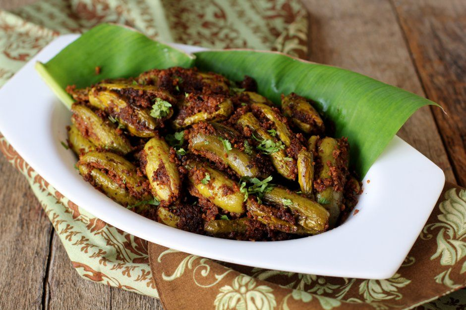 Andhra style stuffed ivy gourd fry to with rice, roti, chapati
