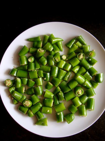 green chillies cut into pieces