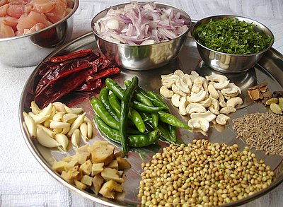 Ingredients - boneless chicken,onions,coriander leaves,spices,ginger-garlic,green and red chillis,cashewnuts